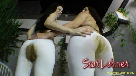 Scat Domination White Scat Pants (2 Domina 1 Slave) Pantyhose / Domination Scat [FullHD 1080p] SG-Video