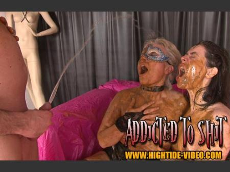 ADDICTED TO SHIT (Models: Gina, Ingrid, 1 Male) Human Toilet, Humiliation [SD] Hightide-Video