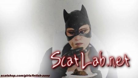 Catwoman smears and swallows (Fetish-zone) Scatology, Solo [FullHD 1080p] Extreme Scat